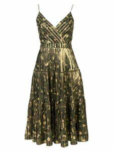 Nicole Miller camouflage pleated midi dress - Brown