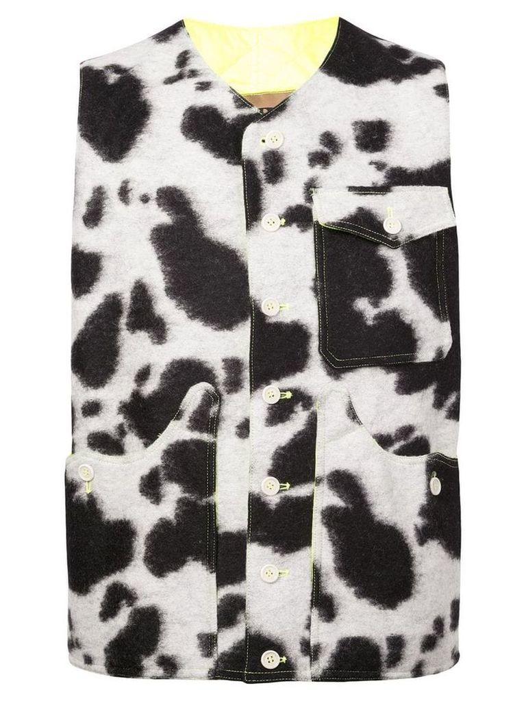 Oloapitreps Cow pattern waistcoat - Black