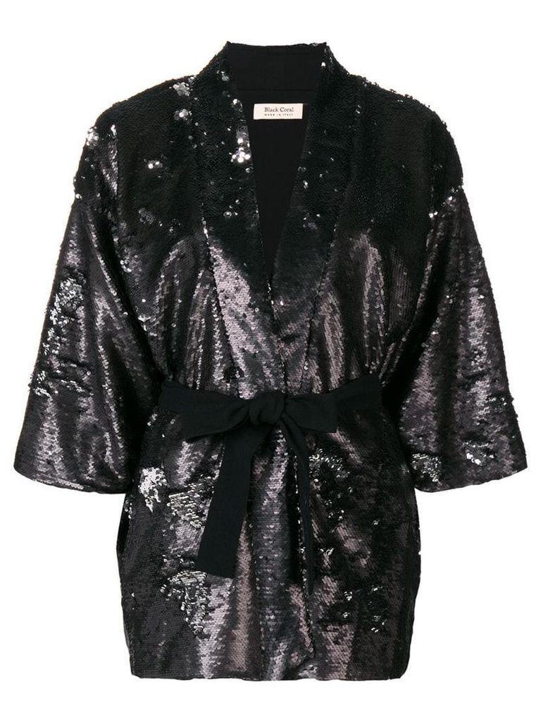 Black Coral sequin embellished belted jacket
