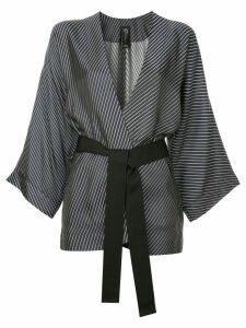 Zero + Maria Cornejo diagonal stripe kimono blazer - Black