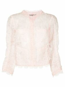 Ermanno Scervino sheer lace cropped blazer - Pink