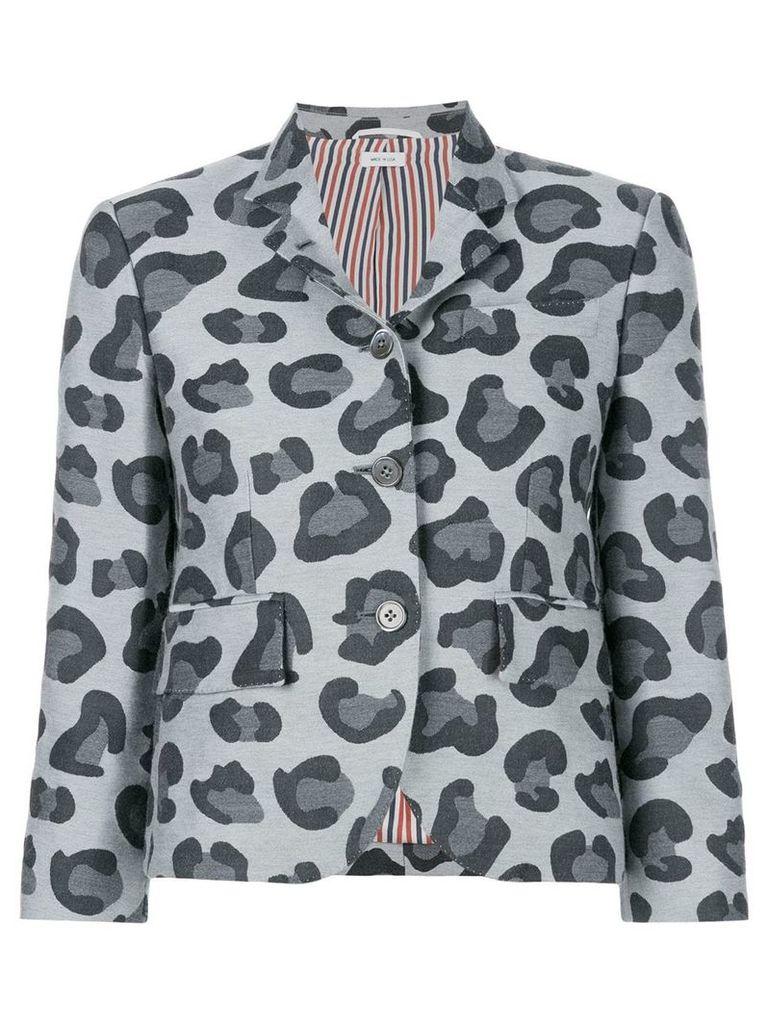 Thom Browne Leopard Wool & Silk Jacquard Sport Coat - Grey