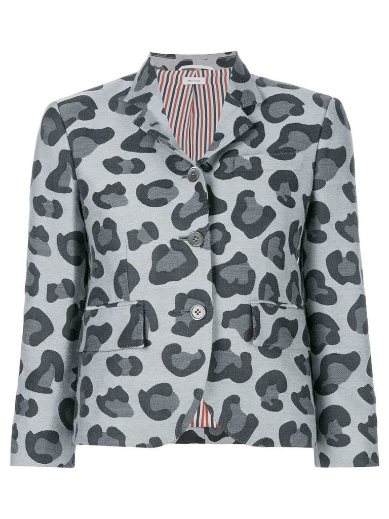 Thom Browne Leopard Wool & Silk Jacquard Sport Coat - Grey