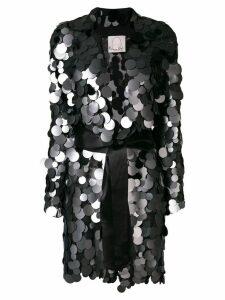 Romeo Gigli X Eggs long embellished belted blazer - Black