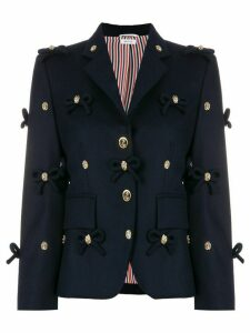 Thom Browne Bow Applique Flannel Sport Coat - Blue