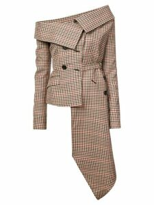 Monse plaid asymmetric off shoulder blazer - Brown