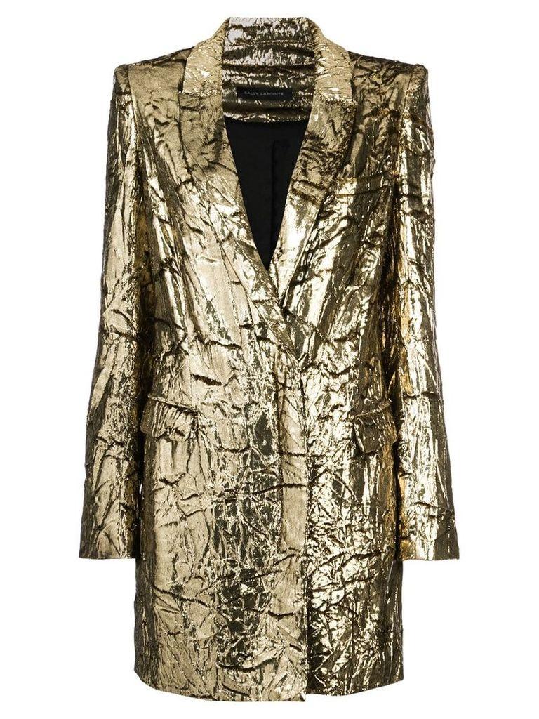 Sally Lapointe crinkled lamé blazer - Metallic