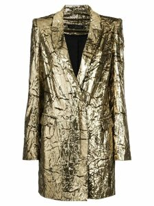 Sally Lapointe crinkled lamé blazer - Metallic