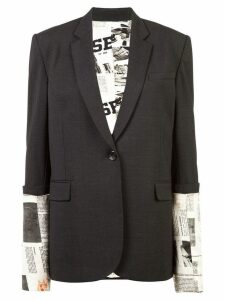 Monse book print sleeves blazer - Charcoal