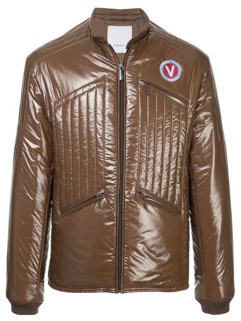Ports V band collar jacket - Brown