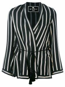 Etro striped wrap jacket - Black