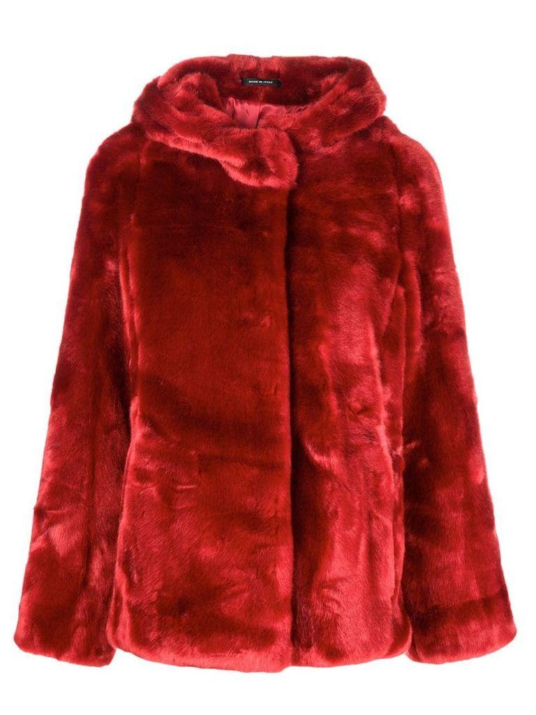Tagliatore faux fur hooded jacket - Red