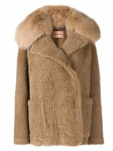 Yves Salomon curly fur jacket - Brown