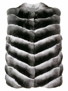 Liska fur sleeveless jacket - Black