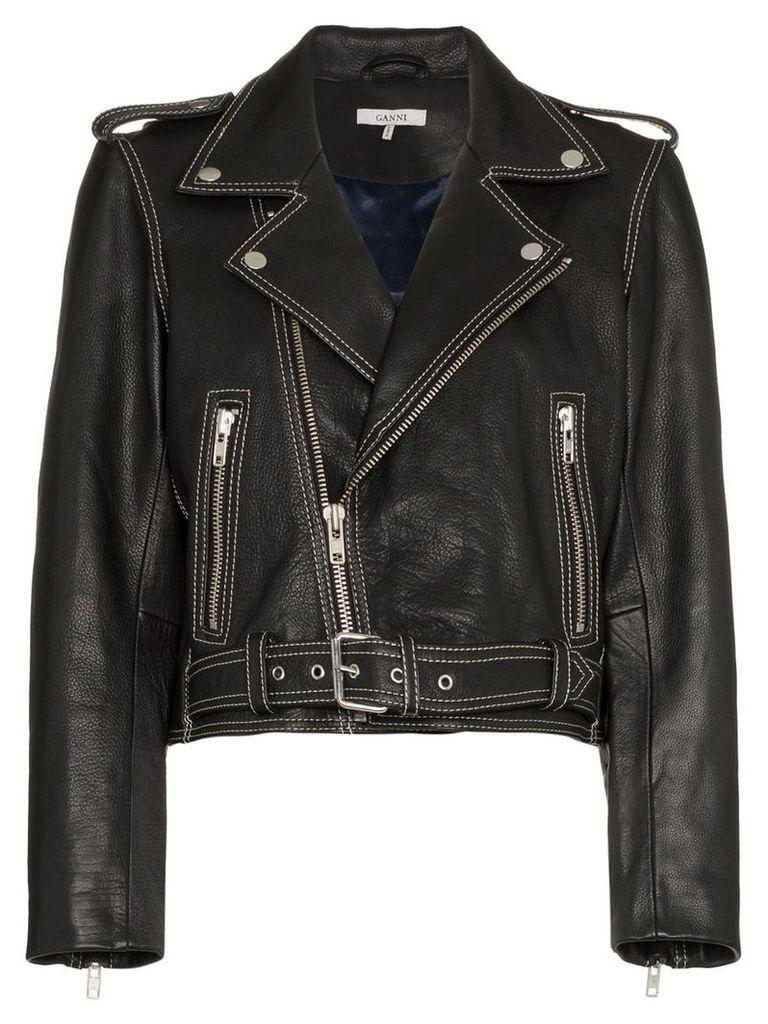 Ganni Angela Leather Biker Jacket - Black