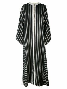 Etro collarless long striped duster coat - Black