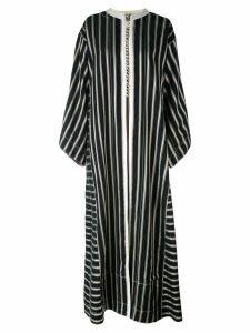 Etro collarless long striped duster coat - Black