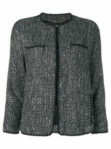Blumarine faux fur cuff bouclé jacket - Grey