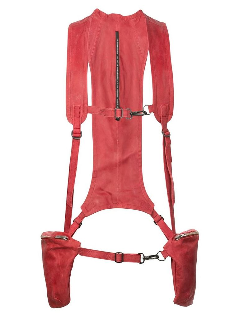 Nude military cargo waistcoat - Red
