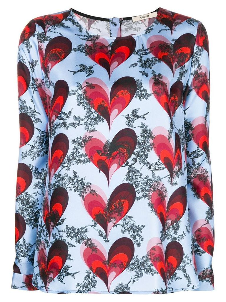 Odeeh heart printed blouse - Blue