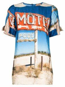 Nº21 Motel print top - Blue