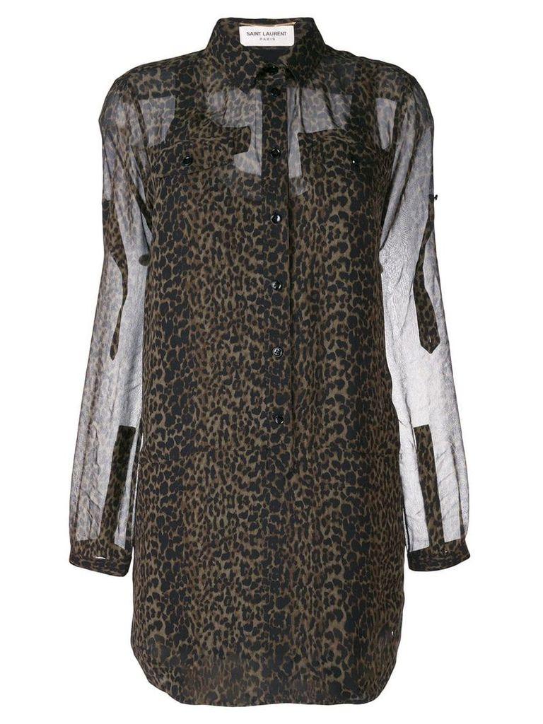 Saint Laurent leopard print blouse - Green
