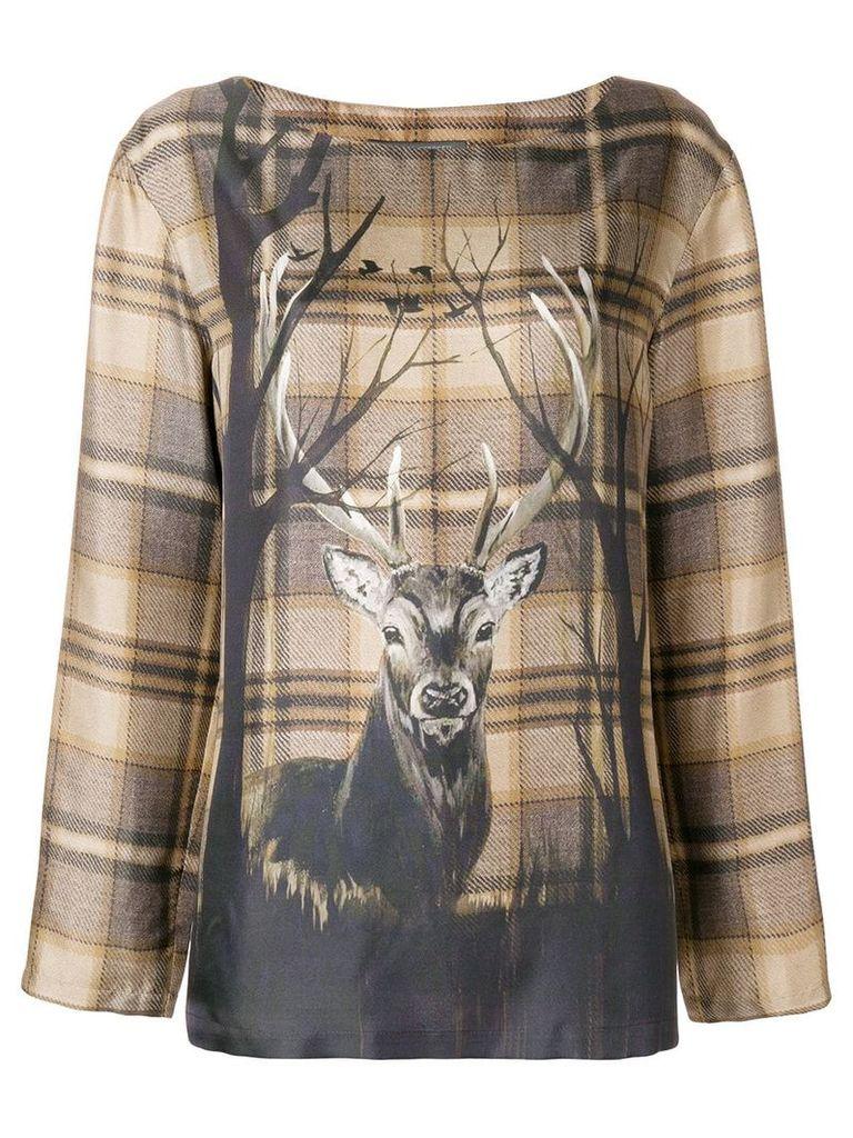 Alberta Ferretti deer print blouse - Brown