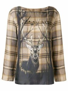 Alberta Ferretti deer print blouse - Brown