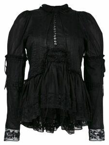 Dsquared2 ruffle trim lace blouse - Black