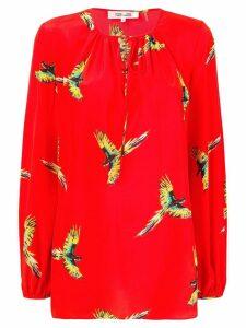 Diane von Furstenberg parrot blouse - Red