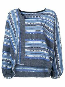 Lemlem striped embroidered details blouse - Blue