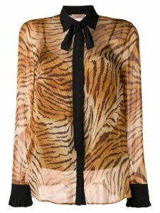 Twin-Set sheer tiger print shirt - Brown