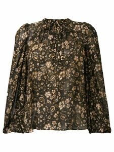 Ulla Johnson paisley print tie neck blouse - Black