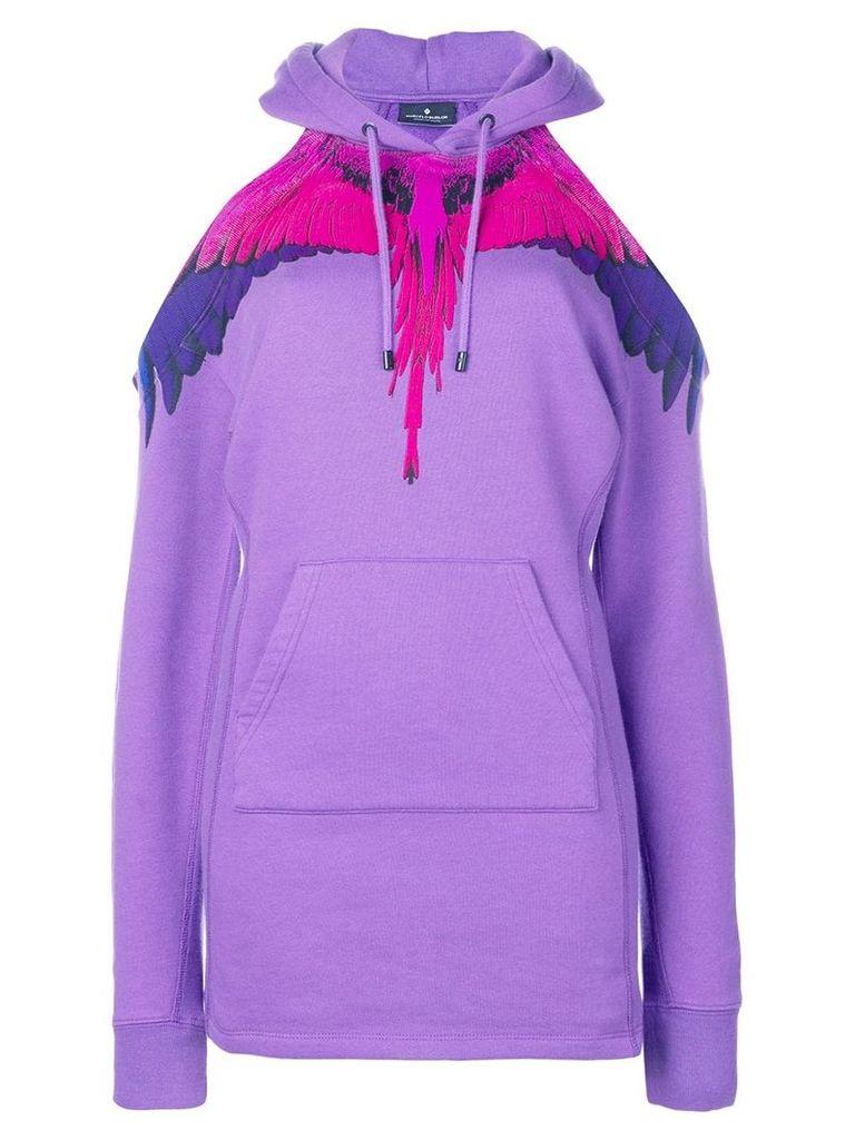 Marcelo Burlon County Of Milan off shoulder wings hoodie - Purple