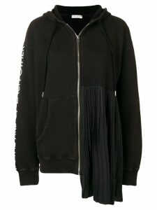 Each X Other Pleated Zip-Front Hoodie - Black