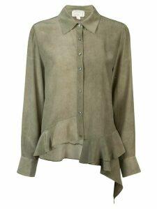 Nicole Miller asymmetrical button down shirt - Green