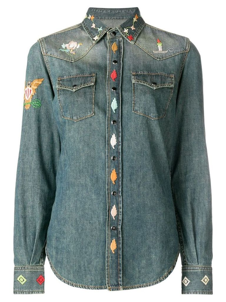 Saint Laurent embroidered shirt - Blue