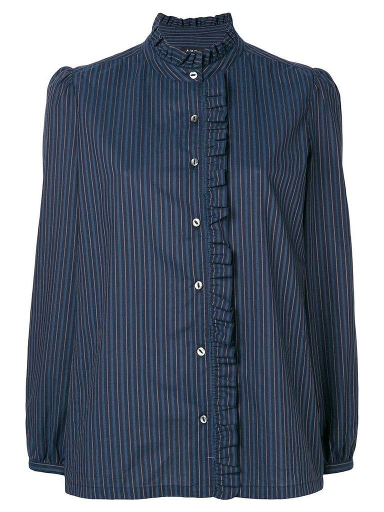 A.P.C. ruched trim striped shirt - Blue