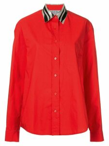 We11done contrast collar shirt - Red