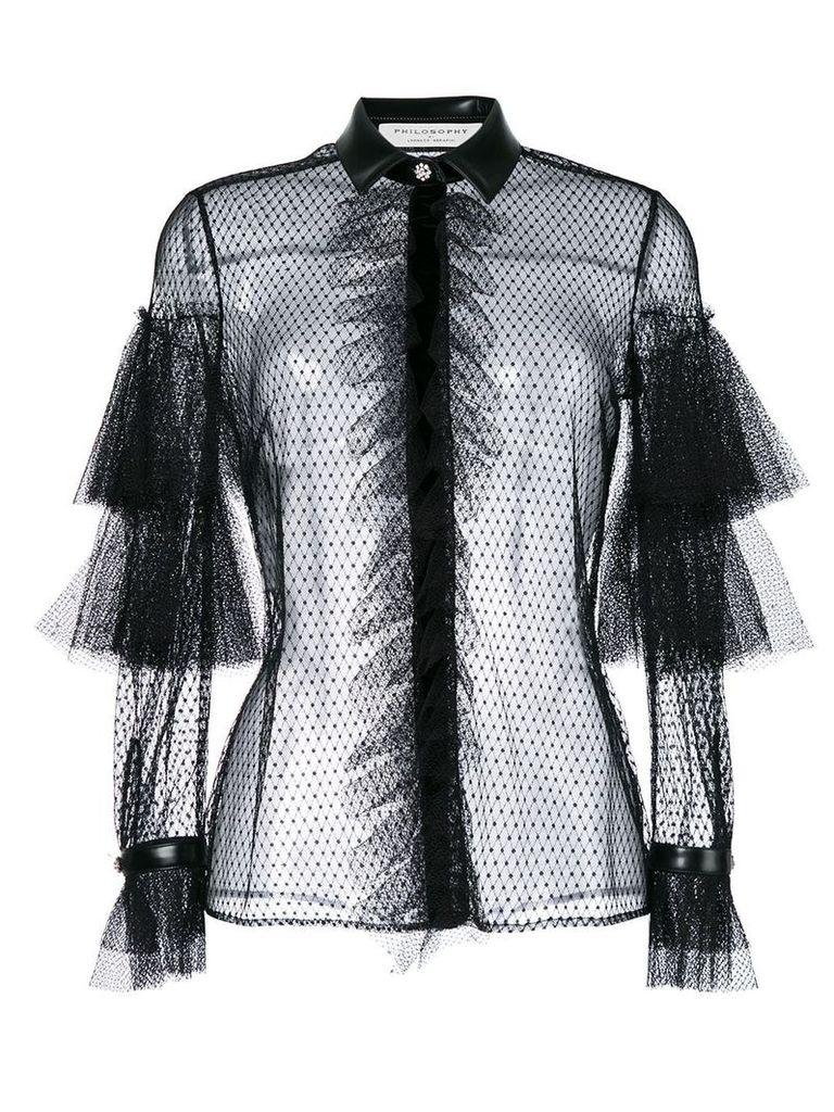 Philosophy Di Lorenzo Serafini fishnet and frill trimmed sheer shirt -