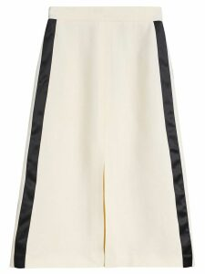 Burberry Sport Stripe Wool Silk A-line Skirt - White