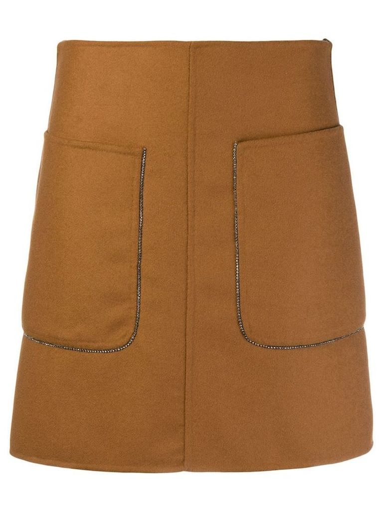 Nº21 embellished pocked A-line skirt - Brown