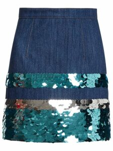 Miu Miu sequin embroidered denim skirt - Blue