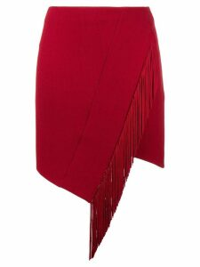 David Koma asymmetric fringed skirt - Red