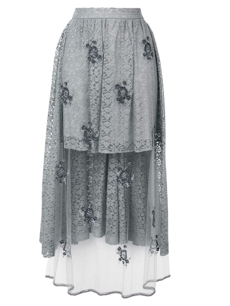 Stella McCartney embellished lace high-low skirt - Grey