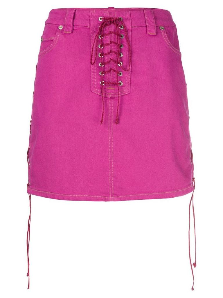 Unravel Project side tie fastenings skirt - Pink