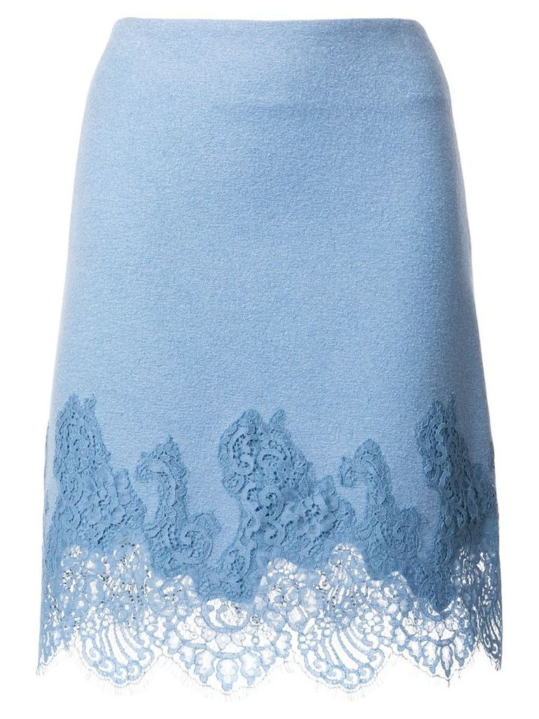 Ermanno Scervino lace embroidered fitted skirt - Blue