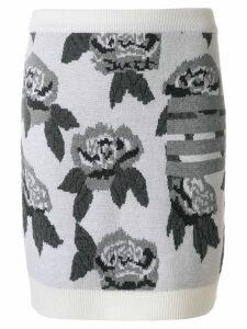 Thom Browne Boucle Rose Jacquard Mini Skirt - White