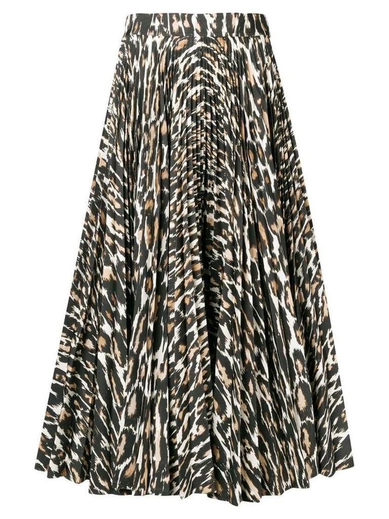 Calvin Klein 205W39nyc flared leopard print skirt - Brown