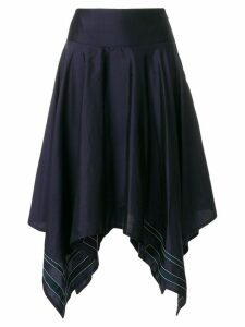 Thom Browne Scarf Hemline Below-knee Silk Skirt - Blue